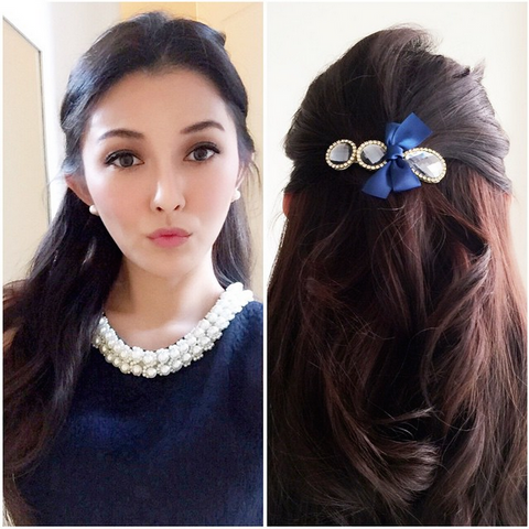 """Waldorf"" Blue Ribbon & Gems Hairclip"