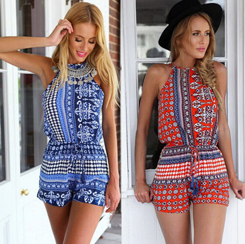 [More Colors] Aztec Print Open Back Playsuit in Blue or Red
