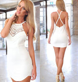 [More Colors] Crochet Neckline Open Back Cross Straps Dress