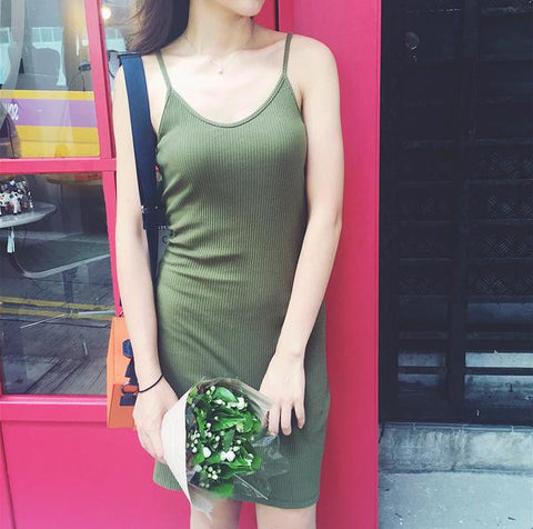 Basic Green Thin Strap Cut Out Back Day Dress