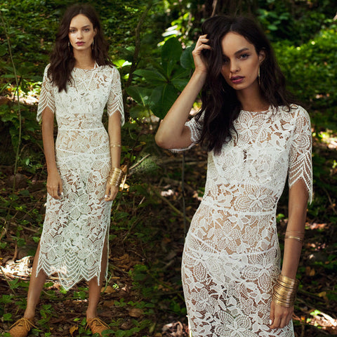 """Evelyn"" Eyelash Lace Cut Out Backless Midi Shortsleeves Dress"