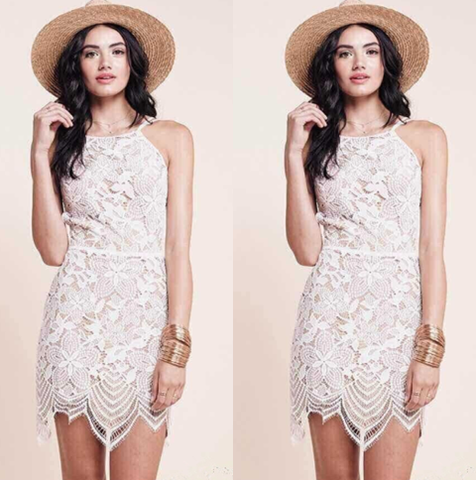 """Iris"" White Eyelash Lace Cut Out Back Dress"