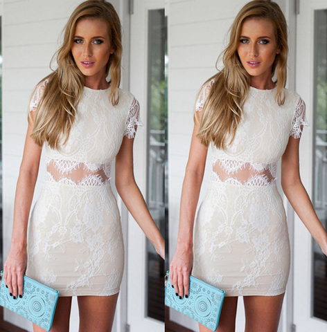 """Annabelle"" White Lace Short Sleeves Bodycon Dress"