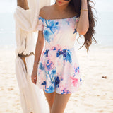 """Fairy Tales"" Floral Print Off Shoulder Playsuit"