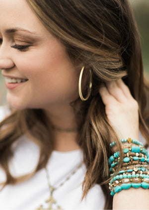 Matte Gold Hollow Hoops by Betsy Pittard Designs