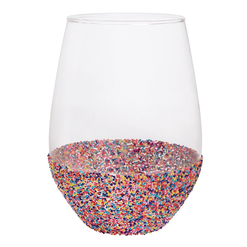 Jumbo Stemless Sprinkle Dip Wine Glass by Slant