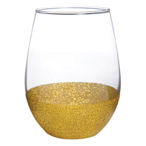 Gold Glitter Wine Glass by Slant