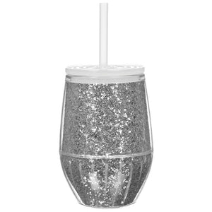 10oz Glitter Acrylic Stemless Wine Glass by Slant