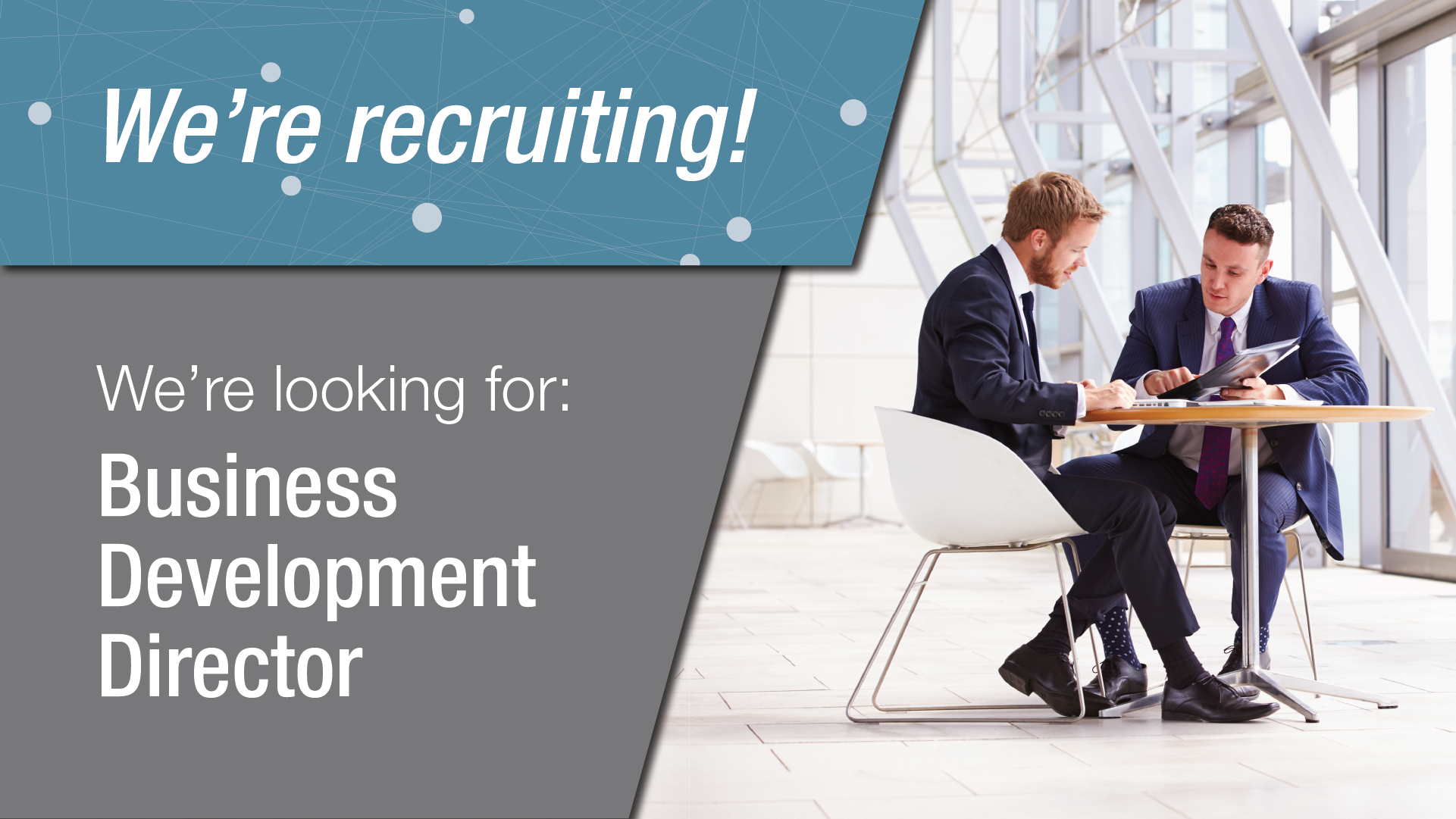 We're recruiting! We're look for: Business Development Director.