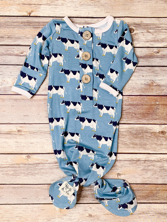 Blue Cows Knotted Gown