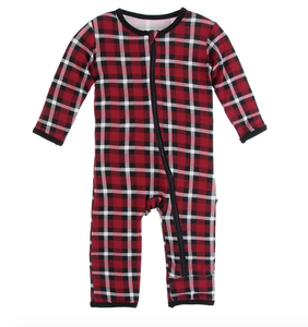 Kickee Print Coverall w/ Zipper Crimson Holiday Plaid