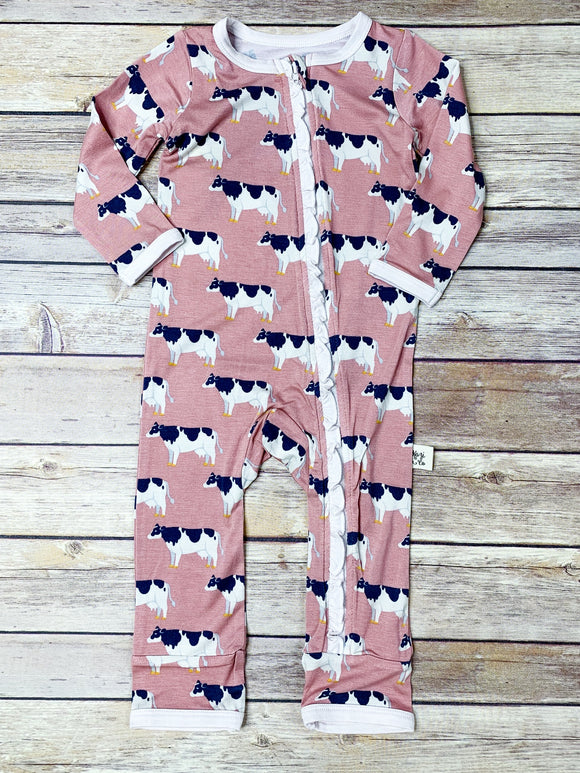 Pink Cows w/ Ruffle Coverall