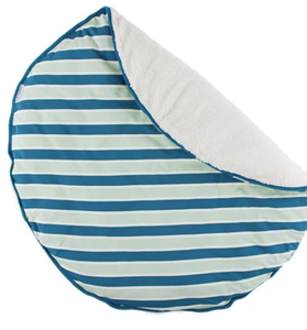 Culinary Arts Print Sherpa Lined Fluffle Playmat (Seaside Cafe Stripe)