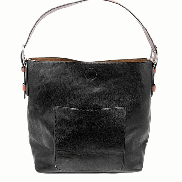 Black Hobo Cedar Handle Handbag