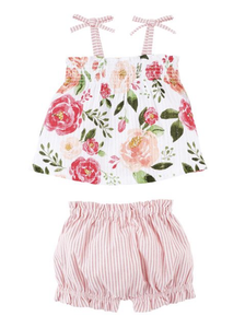 Floral Pinafore and Bloomer Set