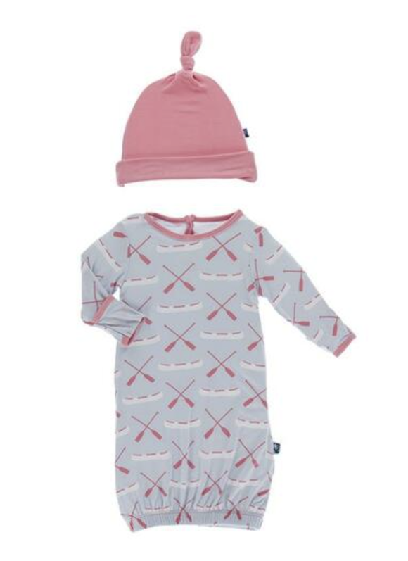 Fish and Wildlife Ruffle Layette Gown Converter & Single Knot Hat Set (Dew Paddles & Canoe)