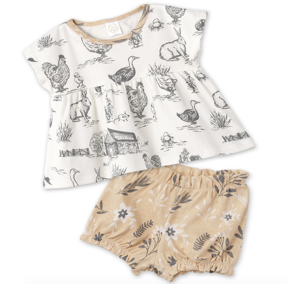 Country Farm Girl's Top & Bloomer Set
