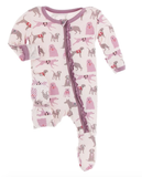 Everyday Heroes Print Muffin Ruffle Footie