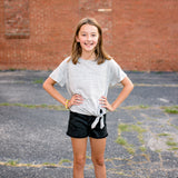Girls Black Basic Fray Hem Shorts