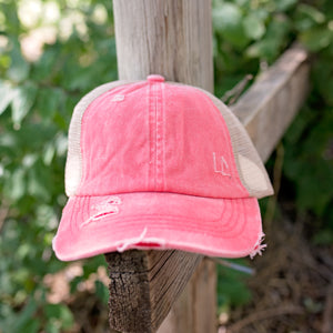 Distressed Coral Ponytail Hat