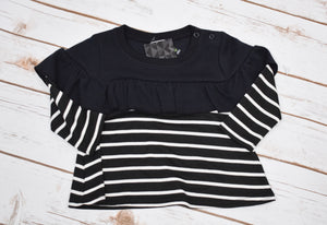 B&W stripe thermal ruffled swing tee