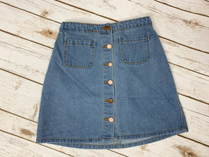 Tori Button Denim Skirt