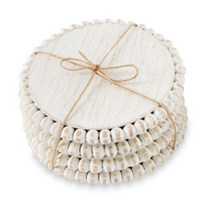 White Beaded Wood Coasters