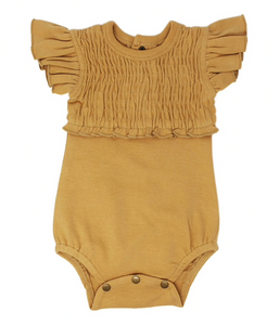 Smocked S/Sleeve Bodysuit