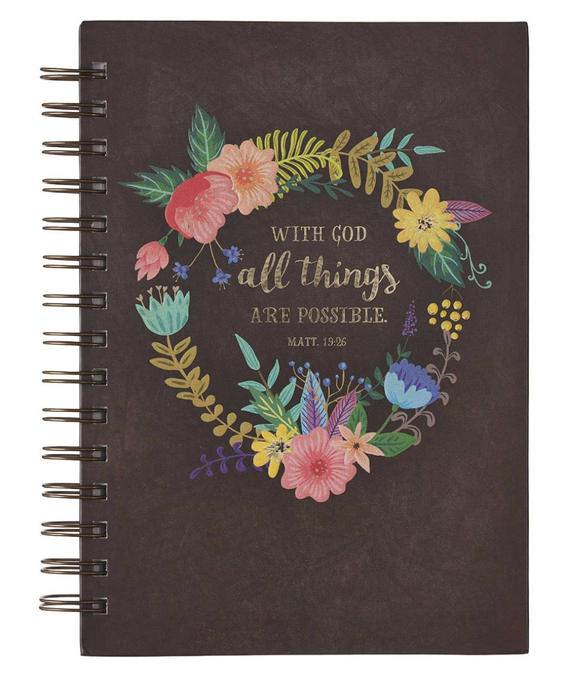 With God All Things Are Possible  Large Journal Wirebound