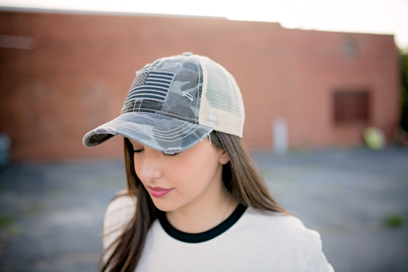 Grey Camo American Flag Hat