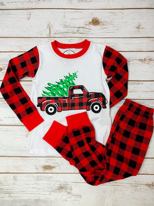 Kids Buffalo Truck  Plaid Pajamas