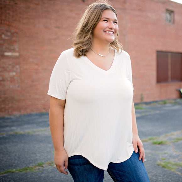 The Perfect Ivory V-Neck Hi-Low Tee