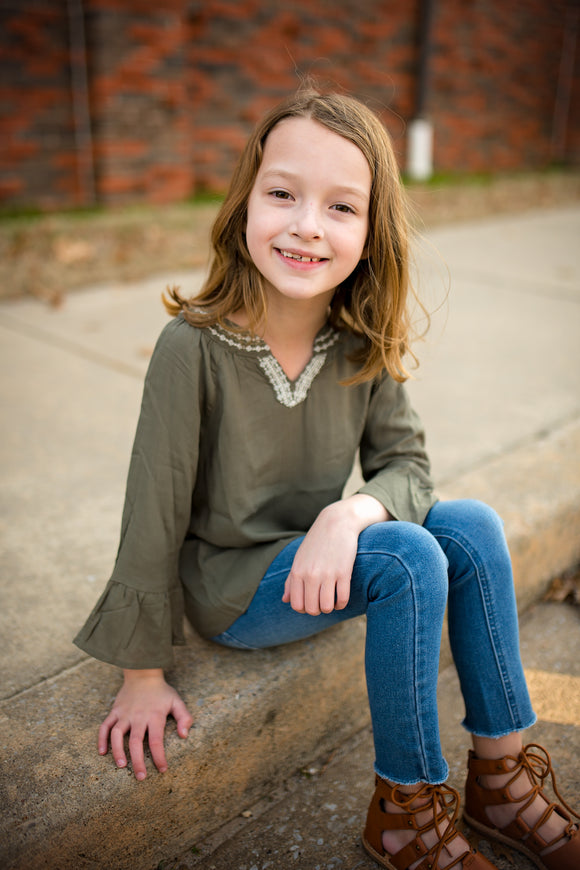 Girls Olive Embroidered Bell Sleeve Tunic Top