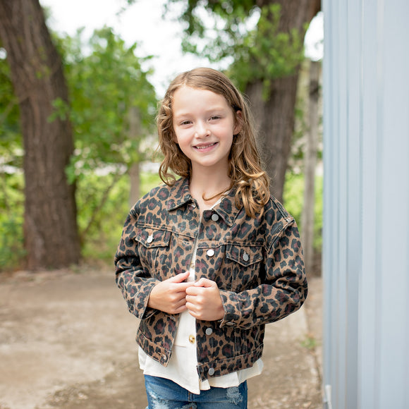 Girls Dark Leopard Denim Jacket