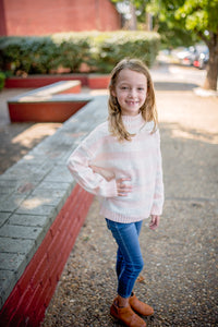 Girls White & Pink Striped Mock Neck Sweater