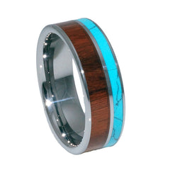 KOA wood turquoise inlay tungsten wedding rings for men and women