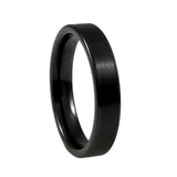 Black Ceramic Ring, Brushed Center, 4mm vertical view