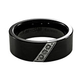 Ceramic Diamond Wedding Band Man horizontal view