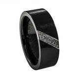 Ceramic Diamond Wedding Band Man vertical view