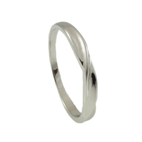 Sterling Silver twisted band High polished Finish vertical view