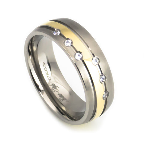 Titanium  Band, Gold plated , 6 stones Inlay Man vertical view