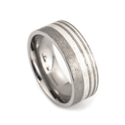 Titanium Wedding Band, Silver inlay, Satin Finish vertical view