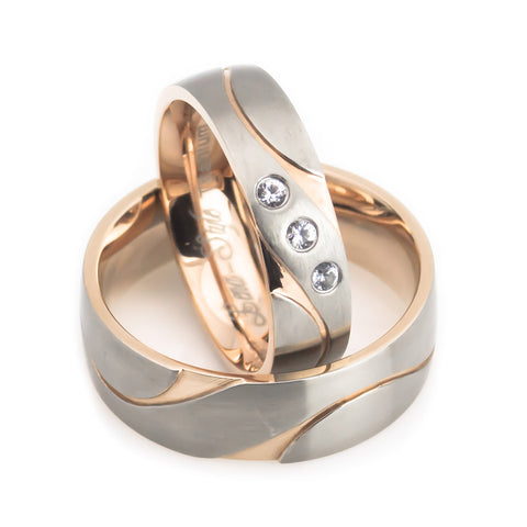 Dragon wave cut rose gold plated titanium wedding bands set