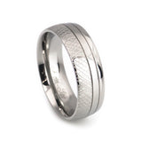 Titanium White  Topaz Inlay Wedding Band  Set-Man vertical view
