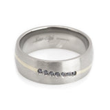 Titanium Wedding Ring , Gold inlay, 0.15 CT Black Diamond Man horizontal view
