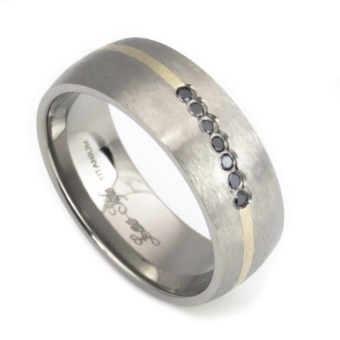titanium wedding ring gold inlay 015 ct black diamond man vertical view - Titanium Wedding Rings For Men