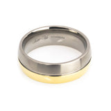 Titanium Rose Gold Plated wedding band Man horizontal view