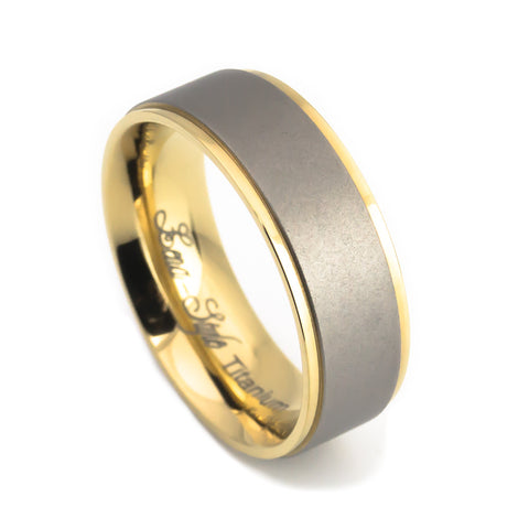 Titanium Wedding rings for him vertical view