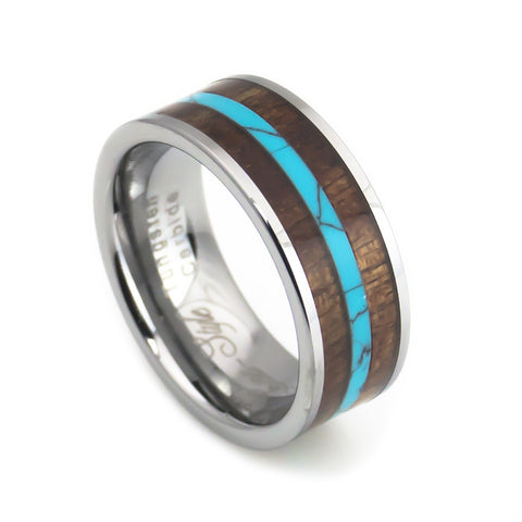 Turquoise strip KOA wood inlay tungsten ring