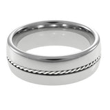 Tungsten Carbide  Ring,Silver Braid,Dome and High Polish, Man horizontal view